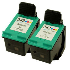 2x HP 343 C8766EE Colour Reman Ink Cartridge for HP Photosmart C4100 C4140 C4150
