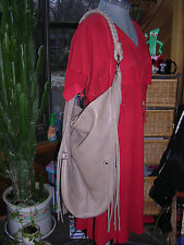 TOTALLY FUNKY LINEA PELLE LEATHER FRINGED LARGE SLOUCHY HOBO SHOULDER HANDBAG