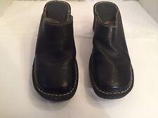 BJORNDAL Traveler Black Pebbled Leather Clogs Mule Slip On Shoes Size 10M Womens