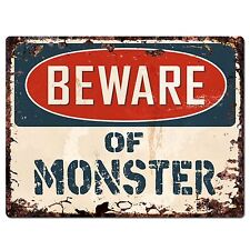 PP1480 Beware of MONSTER Plate Rustic Chic Sign Home Room Store  Decor Gift