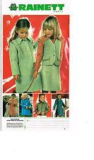 PUBLICITE ADVERTISING 054  1978   RAINETT vetements enfants fille ensemble