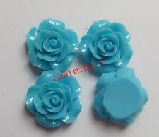 3pz abbellimenti fiore  CABOCHON in resina  20x8mm colore azzurro