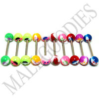 W026 Acrylic Tongue Rings Barbells Happy Smiley LOT 10