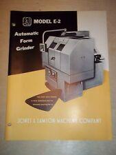 Vtg Jones&Lamson Machine Co. Catalog~Form Grinder E-2