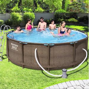 Bestway 56709 Steel Pro Max Pool Deluxe Series Rattanoptik Frame Pool 366x100