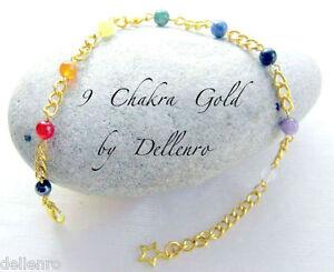 """✫ 9 CHAKRA GOLD ✫ GEMSTONE BEADED ANKLE CHAIN ANKLET BRACELET 9"""" & 2"""" EXTENDER"""