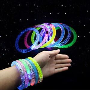 LED Light Up Flashing Bracelet Glow Wristband Blinking Party Club