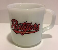 Vintage Rutgers University Camden Milk Glass Coffee Mug Anchor Hocking Fire King