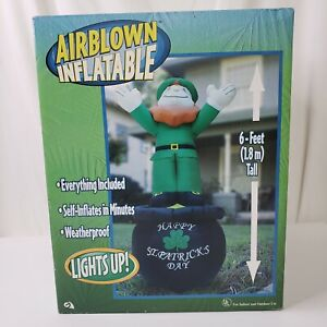 Gemmy St Patricks Day Leprechaun on Pot of Gold 6ft Air Inflatable Lights Up New