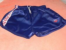 Vintage 100%  silky nylon sprinter shorts,  size Med & Large Navy  Blue, NEW