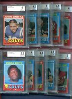 1971 TOPPS FOOTBALL CARD BECKETT GRADED LOT 10 DIFFERENT w/ JOHNNY UNITUS 4