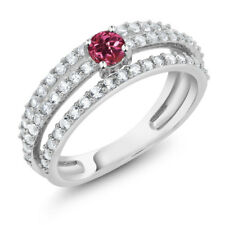 0.73 Ct Round Pink Tourmaline 925 Sterling Silver 3 Row Ring