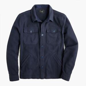 $98 NWT J CREW Navy BLUE Polar Fleece Large men's polyester shirt jacket 🧥