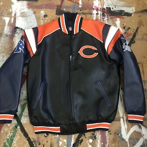 Vintage NWT Chicago BEARS Officially Licensed NFL Varsity Leather Jacket LARGE
