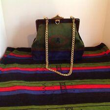 Auth Vtg Roberta Di Camerino BL Red Gr Signature Dr Bag Satchel Lucite Shdr Bag