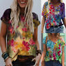 Womens Floral Print Short Sleeve T-Shirt Ladies V-Neck Pullover Blouse Tee Tops