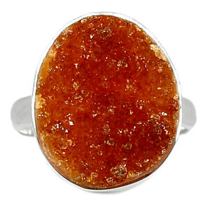 Citrine Druzy 925 Sterling Silver Ring Jewelry s.8.5 BR95450