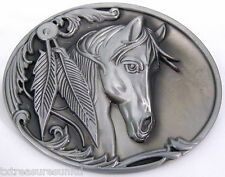 BELT BUCKLES western casual rodeo accessories HORSE HEAD FEATHERS buckle NWOT!