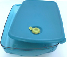 Tupperware Vent N Serve Container 6 Cups Microwave Safe Peacock Aqua Blue New