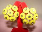 Vintage Big Yellow Hard Plastic Flower Clip on Earrings Clear Rhinestone Centers
