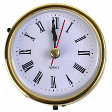"1x 2-1/2"" (65mm) Clock Quartz Movement Insert Roman Numeral White Face Gold Trim"