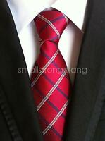Red Mens Classic 100% Silk Tie Necktie Striped JACQUARD Neck Ties Wedding gift