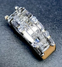 Fabulous Diamond Ring White 750 18ct Gold Weight 6.7g Baguettes Fault See Desc