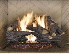18in. Natural Gas Fireplace Logs Split Oak Vented Set Dual Burner, Chimney Flue
