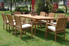 """Wave 9-pc Outdoor Teak Dining Patio: 83"""" Rectangle Table, 8 Stacking Arm Chairs"""