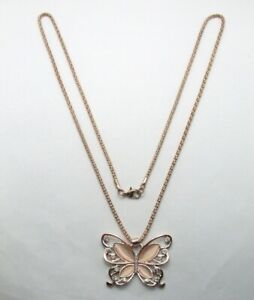 """28"""" Rose Gold Plated Popcorn Chain Butterfly Pendant Necklace~Rhinestone~Pink"""