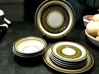 Vintage Electra Casual Ceram Japan Peridot Plates, Bowls StoneWare 9610