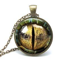 Cúpula de vidrio cabujón con colgante cadena Collar Gótico Steampunk Lagarto/Ojo de Dragón