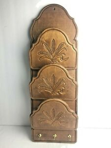 Vintage Solid Wood Wall Mount Letter Mail Bill Key Holder Organizer Wheat