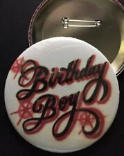 "Red and Black *BIRTHDAY BOY* PIN-BACK BUTTON- LARGE 3.5"" DIAMETER"