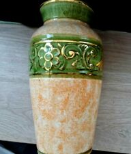Vintage 1910 Cercapia Porcelain Vase Portugal Hand Made Collectible Gold Pattern