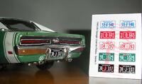1965 - 1969 GEORGIA miniature LICENSE PLATES for 1/25 scale MODEL CARS