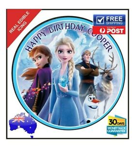 Frozen Elsa Edible Icing Image Cake Birthday Party Topper Personalised 19cm