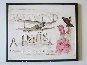 Paris in Pink wall decor plaque bedroom bathroom romantic French travel picture