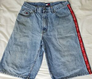 Tommy Hilfiger Vintage Denim Shorts Size 33 Mens Jeans 33x12.5 Stripe Hole Stain