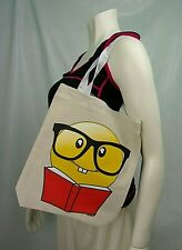 Smiley Face Book Emoji Tote Bag Small Reusable Cloth Shopping Grocery Beach