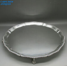 GEORGIAN STYLE HEAVY SOLID STERLING SILVER SALVER TRAY 906g 31.5CM LONDON 1965