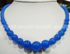 Natural 6-14mm Blue Sapphire Gemstone Necklace 18 inches JN2561