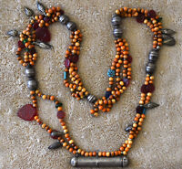 """Antique bedouin Yemen Tribal .900 Silver, Seed and Glass Beads Necklace 38"""" Long"""