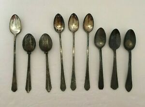 Lot of 7 Antique Silver Plate and Other Spoons and 2 Tea Strainers (NOT Silver!)