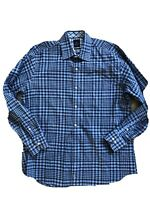 Tailorbyrd Dress Shirt Blue Blue Plaids Size Large Stretch 💫
