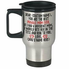 Personalized Puggle Mom Travel Mug, Cross-Breed Pug & Beagle Mommy Present Gift