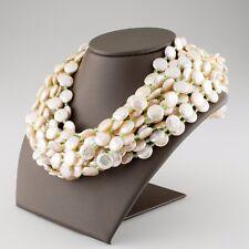 Cristina Ferrare Coin Pearl Multi-Strand Bib Necklace 18k Gold Clasp