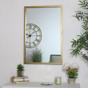 Gold Rectangle Wall Mirror metallic bedroom bathroom minimalist modern decor