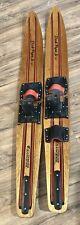 "Dick Pope Jr. Cypress Gardens Vtg Bindings Slip-On  Wood Water Skis 57"" Made USA"