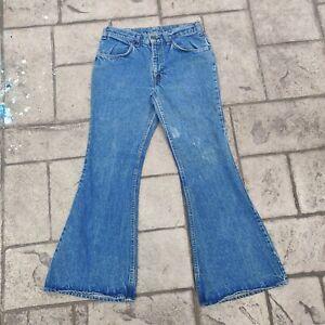 Vintage Levis Bell Bottom 684 0217 Orange Tab Jeans Denim Talon 32x30 1970 flare